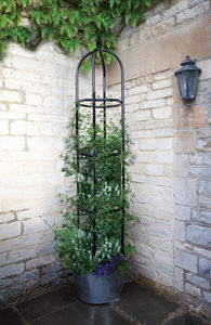 Minster Black Metal Garden Obelisk - garden furniture