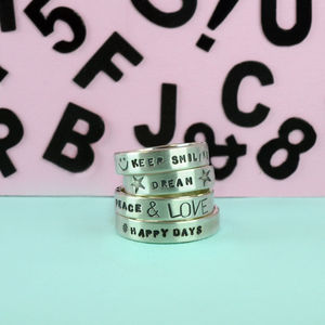 Personalised Silver Text Ring - rings