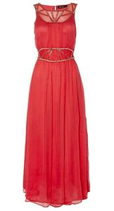 Jaide Coral Chiffon Dress With Gold Bead Trim - dresses