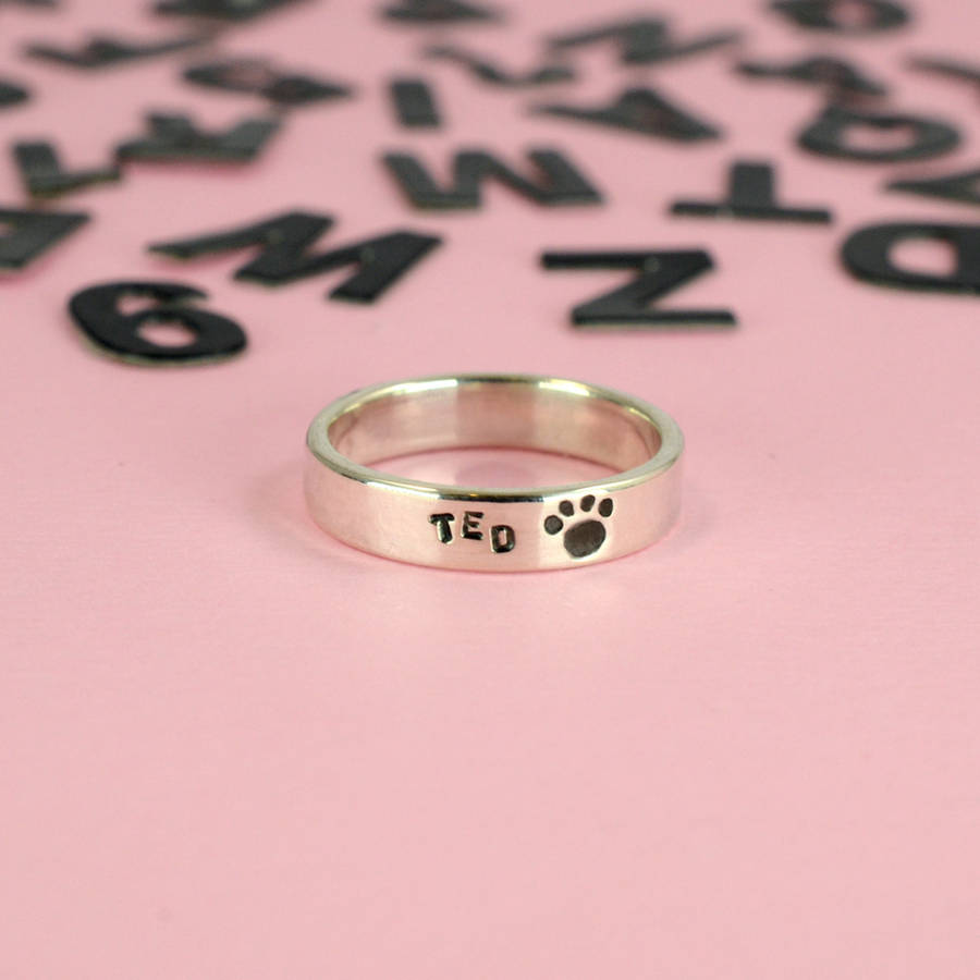 personalised silver text ring by bug | notonthehighstreet.com