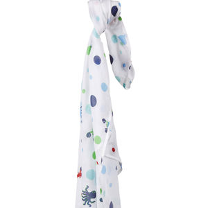 Blue Sealife Muslin Swaddle - blankets, comforters & throws