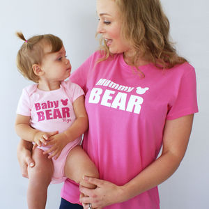 Personalised 'Mummy And Baby Bear' Bodysuit Set
