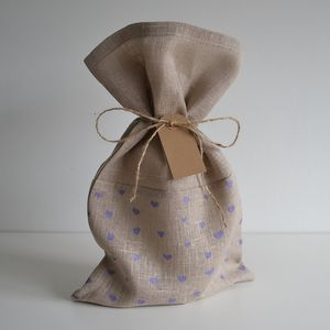Heart Pattern Gift Sack - ribbon & wrap