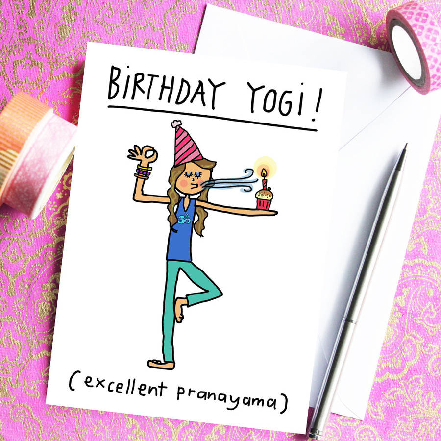 birthday yogi birthday card for yoga teachers by indieberries