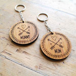 Personalised Mum Wooden Keyring