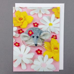 Flower Mouse Greeting Card