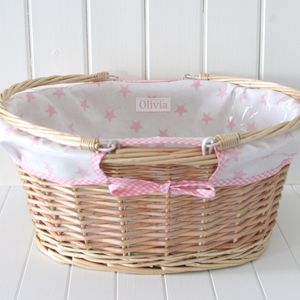 Personalised Oilcloth Lined Changing Basket