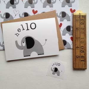 'Hello' Elephant Card With Sticker Or Set Of Notelets