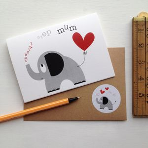 Heart And Elephant 'Special Step Mum' Mothers Day Card - view all mother's day gifts
