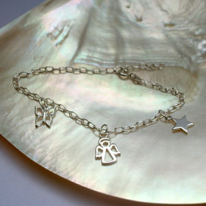 Silver Angel Butterfly And Star Charm Bracelet