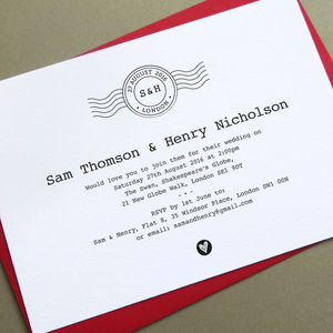 'First Class' Letterpress Wedding Stationery