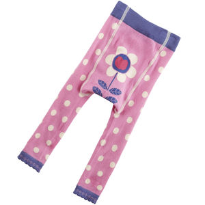 Pink Spotty Footless Tights - children's tights