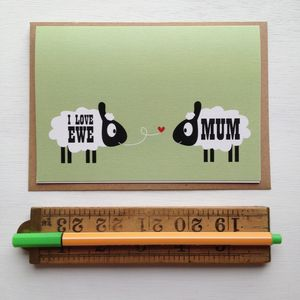 'I Love Ewe Mum' Sheep Mothers Day Card