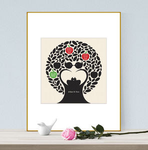 Personalised Family Tree Love Birds Print