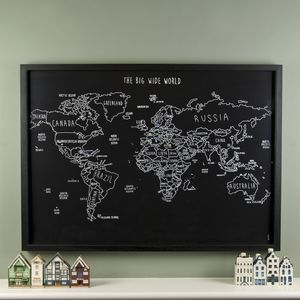 Personalised World Travel Map With Pins - home accessories