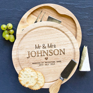 Personalised Wedding Cheese Board And Knives Set - dining room