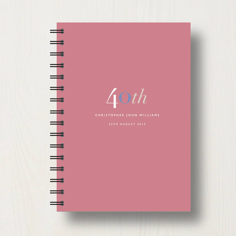 personalised 40th birthday journal or guest book by designed