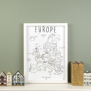 Personalised Europe Map With Pins - map inspired art