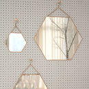 Large Hexagon Shaped Copper Mirror