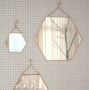 Medium Hexagon Shaped Copper Mirror - bedroom