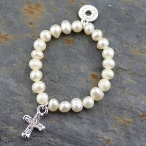 Pearl And Silver Cross Christening Bracelet