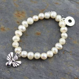 Pearl And Silver Angel Christening Bracelet
