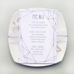 Amethyst Geometric Wedding Breakfast Menu