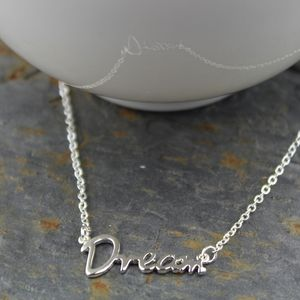 'Dream' Silver Word Necklace