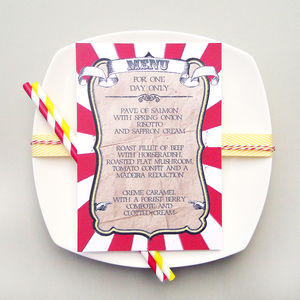 Circus Festival Wedding Breakfast Menu - table decorations