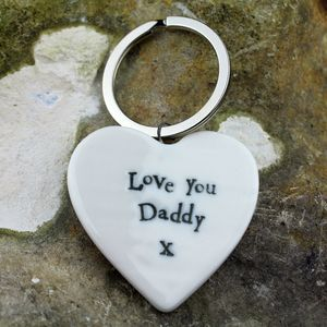 Porcelain 'Love You Daddy' Heart Keyring - keyrings