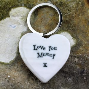 Porcelain 'Love You Mummy' Heart Keyring - gifts under £15