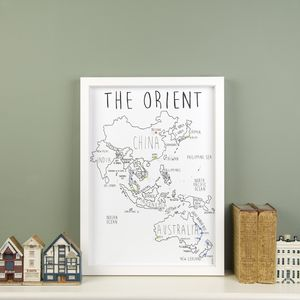 Personalised The Orient Pinboard Map - art & pictures