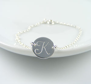 Personalised Silver Initial Bracelet - flower girl jewellery