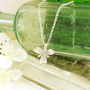 Silver Orchid Flower Necklace - wedding jewellery