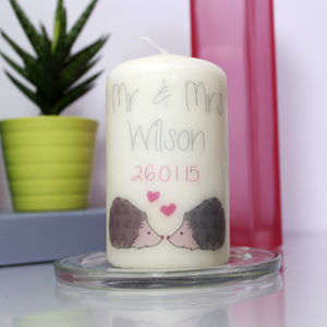 Personalised Hedgehog Wedding Candle - table decorations