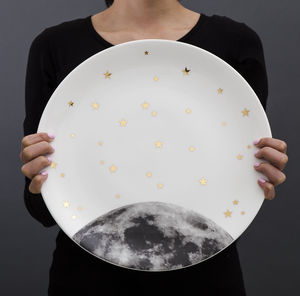 Serving Platter With Cookie Cutter : Moon And Stars