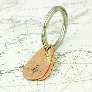 Double Teardrop Fob Copper Keyring