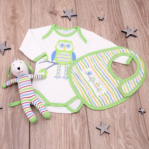 Ollie The Owl Organic New Baby Gift Set - babygrows