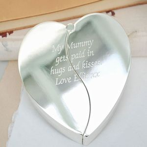 'Hugs And Kisses' Silver Heart Jewellery Box