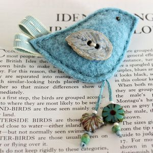 Duck Egg Blue Birdie Brooch Pin - corsages