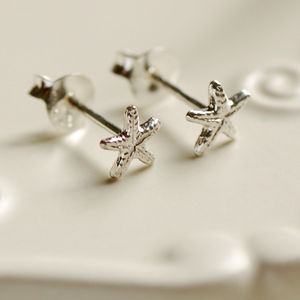 Tiny Silver Starfish Stud Earrings - earrings