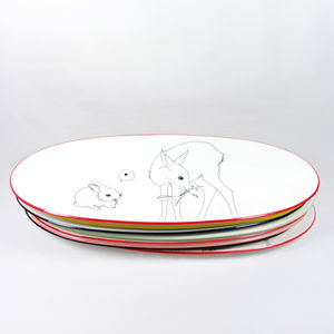 Illustrated Oval Platter Dishes