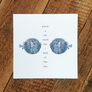Puffer Fish Love Card; You're A Bit Weird' - anniversary cards