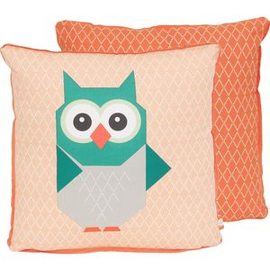Orange Geometric Owl Cushion