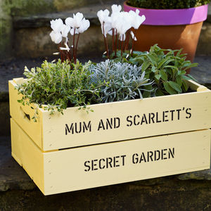 Personalised Wooden Crate Planter - gardener