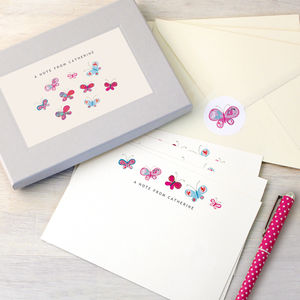 Personalised Butterflies Writing Set - thank you cards