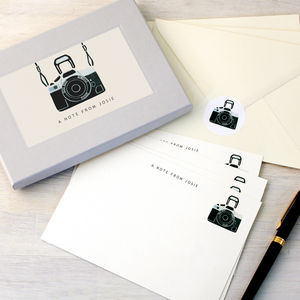 Personalised Camera Writing Set - thank you cards