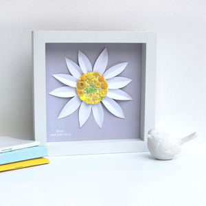 Personalised Baby Girl Daisy Artwork