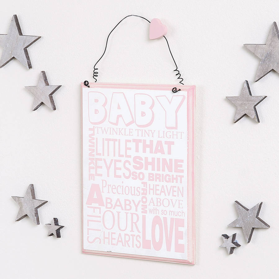Twinkle Twinkle Baby Girl Wooden Wall Plaque