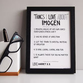 Personalised 'Things We Love About' Print - gifts
